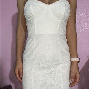 White lace bodice mini dress